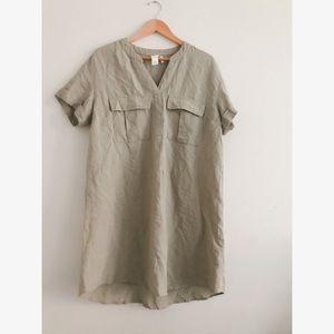 Linen beige shift dress